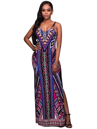 Boho Dress Backless Lace up Color Block Maxi Dress - Gisselle Morales