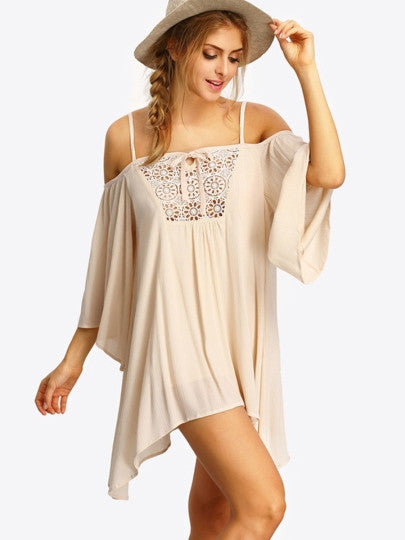 Boho Dress Beige Hollow Strappy Sexy Dress - Gisselle Morales