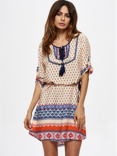 Boho Dress Beige Half Sleeve Lace up Day Dress - Gisselle Morales