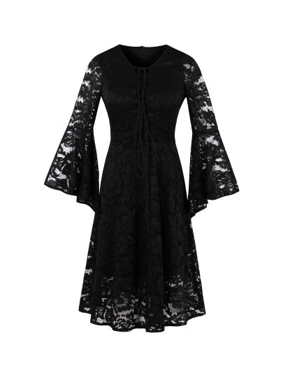 Boho Dress Bell Sleeve Tie Neck Lace Dress - Gisselle Morales