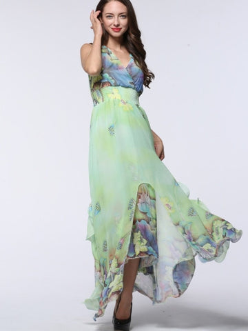 Floral Print V-Neck Sleeveless Maxi Dress (Plus Size Available)