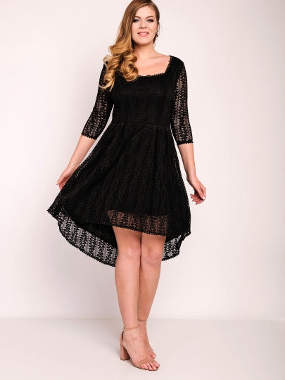 Boho Dress Black Plus Size Square Neck Lace Dress - Gisselle Morales
