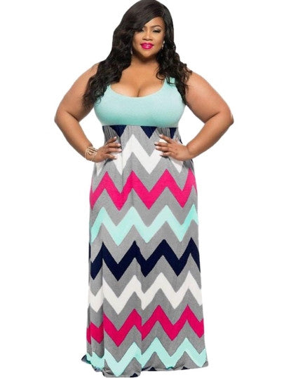 Plus Size Striped Maxi Dress - Gisselle Morales