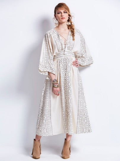 Boho Dress Bohomian Floral Lace-Up Maxi Dress - Gisselle Morales