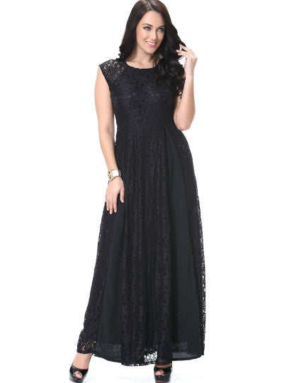 Boho Dress Black Patchwork Plus Size Maxi Dress - Gisselle Morales