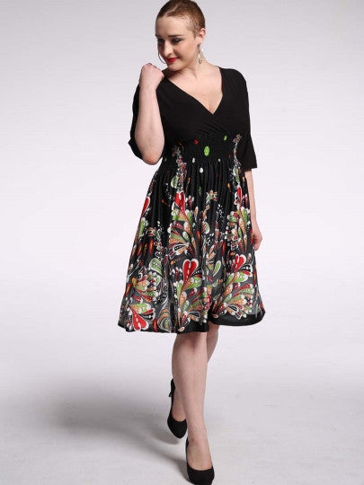 Black Plus Size Half Sleeve Day Dress - Gisselle Morales