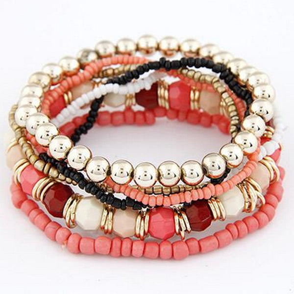 1 Set 7Pcs Boho Wholesale Multilayer Acrylic Beads Beach Bracelet BK - Gisselle Morales
