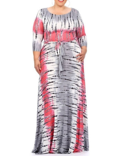 Color Block Plus Size Lace up Maxi Dress - Gisselle Morales