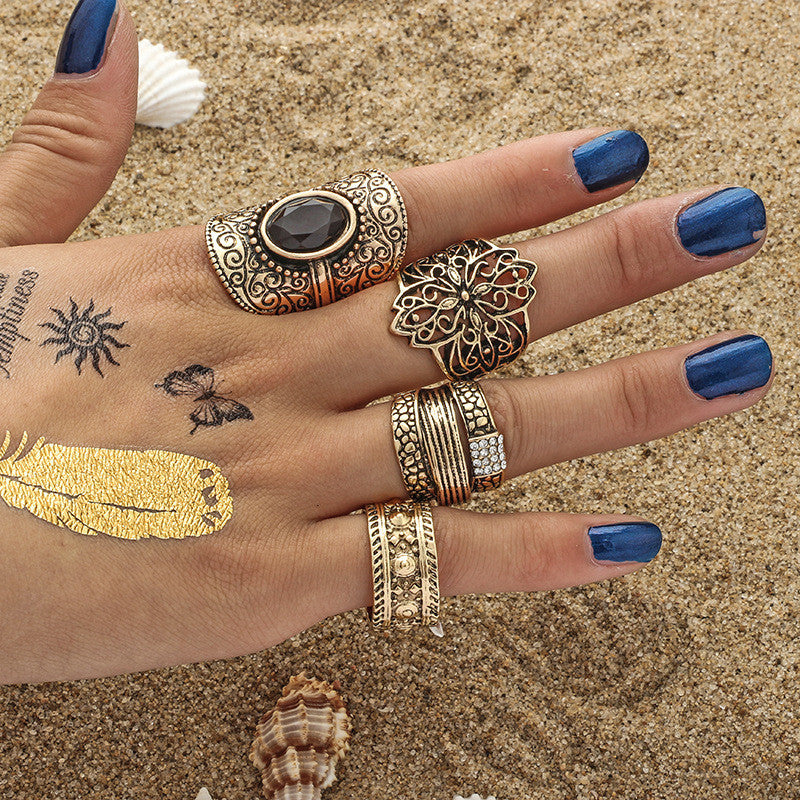 4pcs/Set Boho Style Bohemian Vintage Silver Stack Rings Above Knuckle Rings - Gisselle Morales