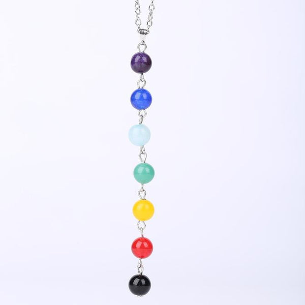 7 Chakra Beads Pendant Chain Necklace Yoga Reiki Healing Balancing For Boho Style - Gisselle Morales