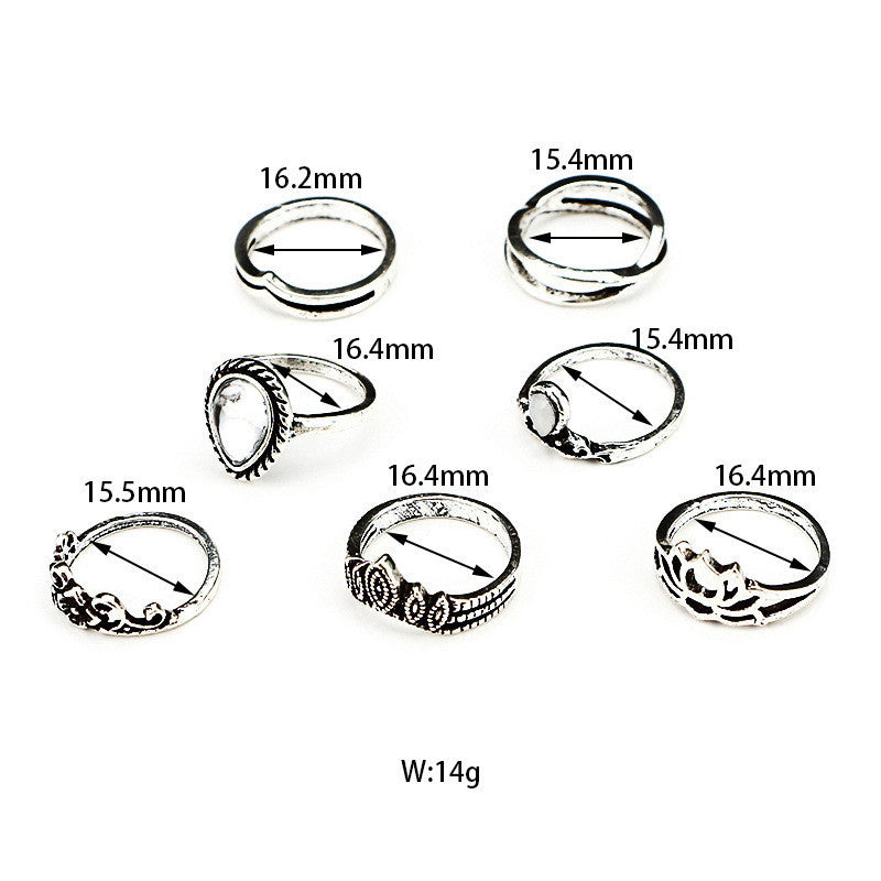 7pcs/Set Boho Style Bohemian Vintage Silver Stack Rings Above Knuckle Rings - Gisselle Morales