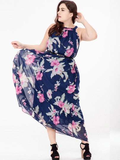 Boho Dress Plus Size Flower Printed Maxi Dress - Gisselle Morales