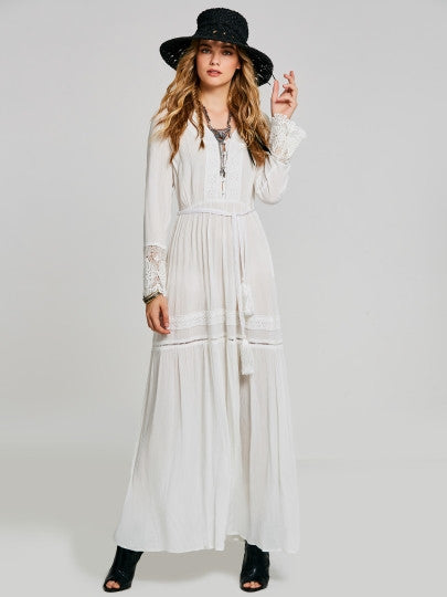 Boho Dress White Tassels Lace Patchwork Maxi Dress - Gisselle Morales