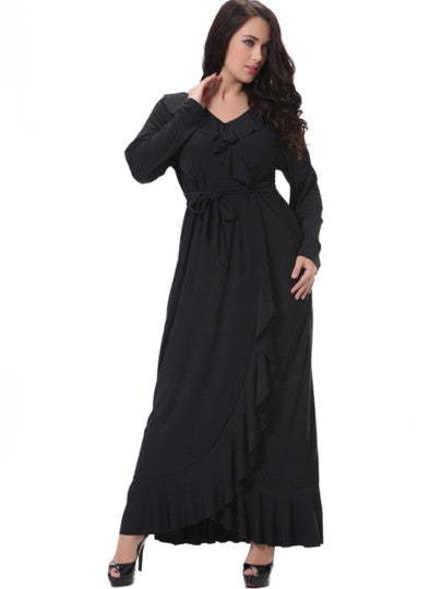 Boho Dress Asym Lace-Up Plain Maxi Dress (Plus Size Available) - Gisselle Morales