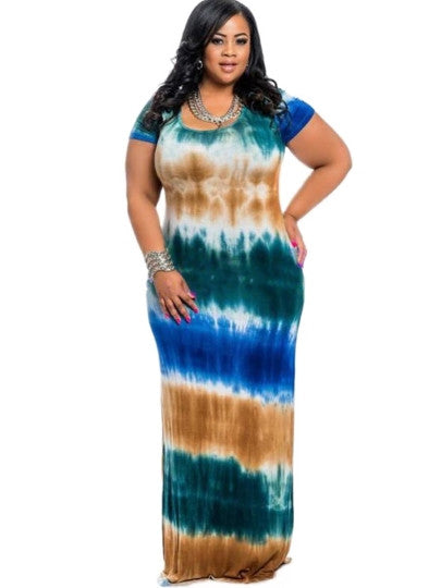 Boho Dress Plus Size Short Sleeve Gradient Maxi Dress - Gisselle Morales