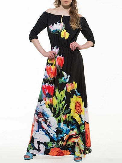 Boho Dress Black Half Sleeve Slash Neck Maxi Dress (Plus Size Available) - Gisselle Morales