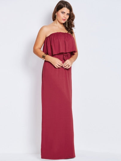 Burgundy Slash Neck Plus Size Maxi Dress