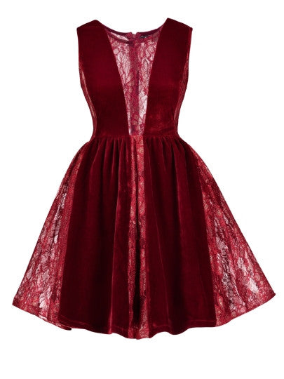 Boho Dress Fuchsia Velvet Patchwork Day Dress - Gisselle Morales