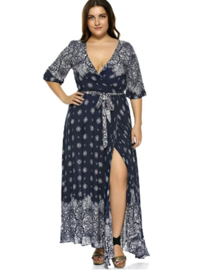 Boho Dress Half Sleeve Plus Size V Neck Maxi Dress
