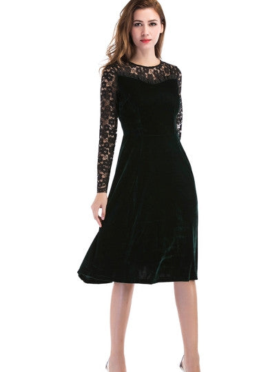 Boho Dress Lace Sleeve Velvet Patchwork Day Dress