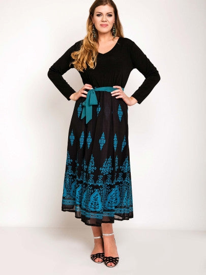 Boho Dress Mid-Calf Belt Bowknot Long Sleeve Maxi Dress(Plus Size Available)