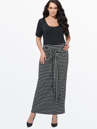 Plus Size Striped Maxi Dress (Plus Size Available) - Gisselle Morales