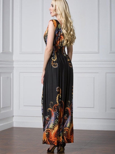 Boho Dress Plus Size V Neck Elastical Waist Maxi Dress - Gisselle Morales