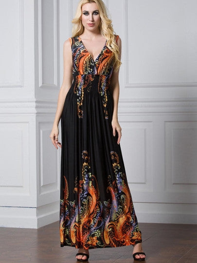 Boho Dress Plus Size V Neck Elastical Waist Maxi Dress