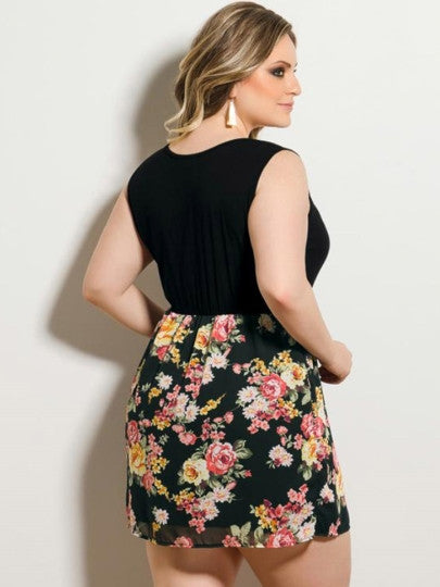 Sleeveless Plus Size Floral Printed Day Dress - Gisselle Morales