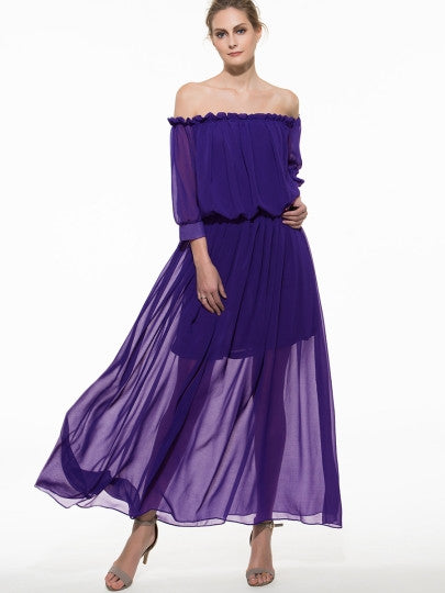 Boho Dress Solid Color Off Shoulder Maxi Dress (Plus Size Available) - Gisselle Morales