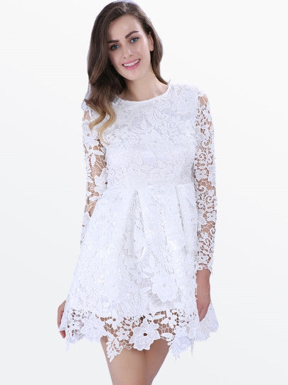 Boho Dress White Long Sleeve Lace Flare Dress - Gisselle Morales