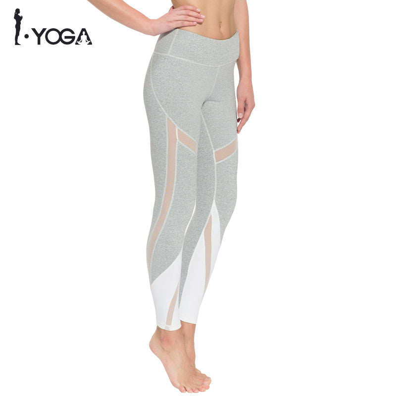 Fitness Boho Style Yoga Pants High Waist Sexy Mesh Tights Sports Leggings Slim Workout Running Gym Active Sportswear with Pocket K021