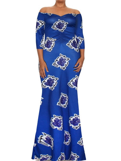 Boho Dress Plus Size Royal Blue Maxi Dress