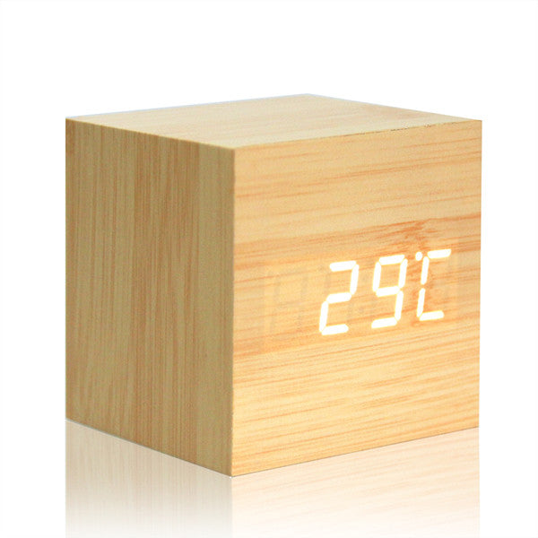 Digital Thermometer Wooden LED Alarm Clock Backlight Voice Control Wood Retro Glow Clock Desktop Table Luminous Alarm Clocks