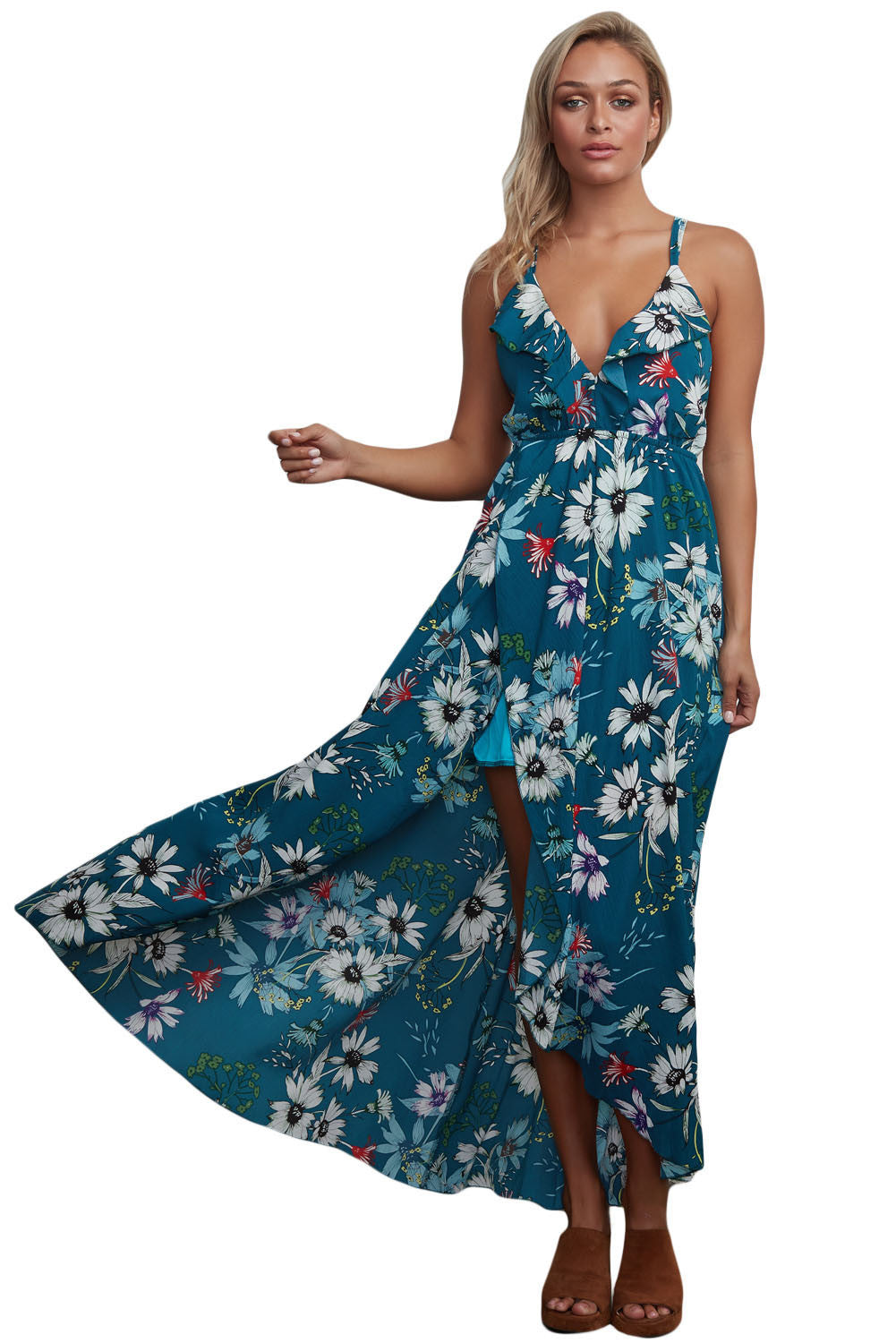 Boho Dress V Neck Bohemian Chiffon Long Dress Strap Cross Backless Maxi Dress for Beach - Gisselle Morales