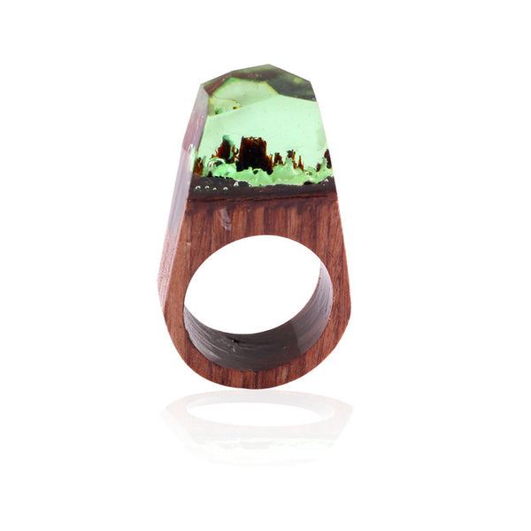 1pc 18mm Handmade Wood Resin Ring with Magnificent Tiny Fantasy Secret Landscape - Gisselle Morales