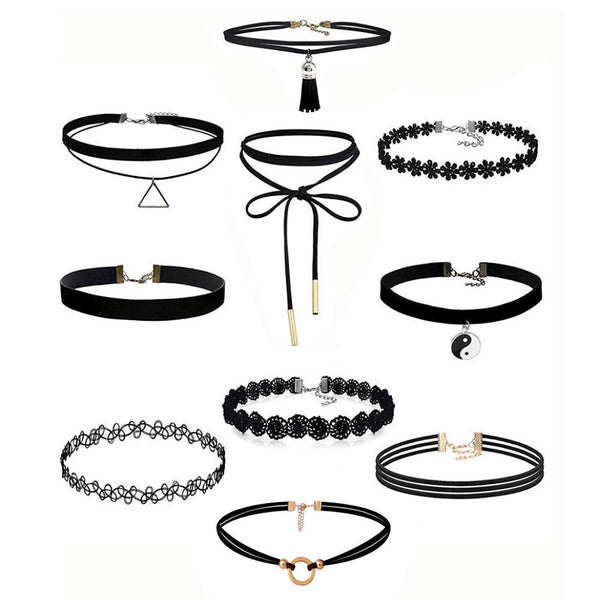 10Pieces Choker Necklace Set Stretch Velvet Classic Gothic Tattoo Lace Choker - Gisselle Morales