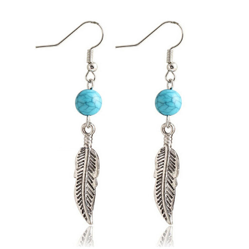 1Pair Turquoise Circular Leaves Dangle Earrings Eardrop Jewelry - Gisselle Morales
