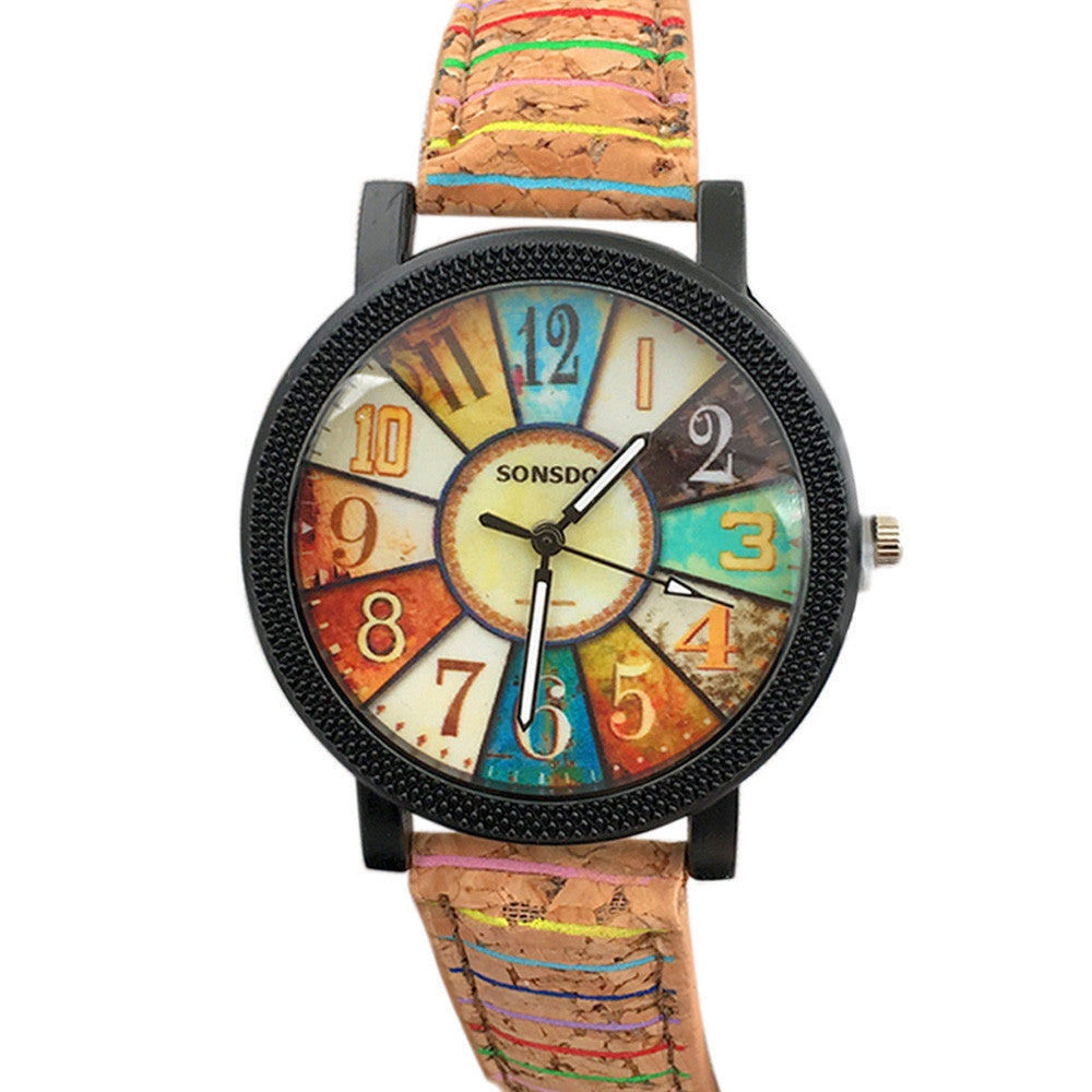 Antique Turntable Pattern Leather Band Analog Quartz Vogue Watches