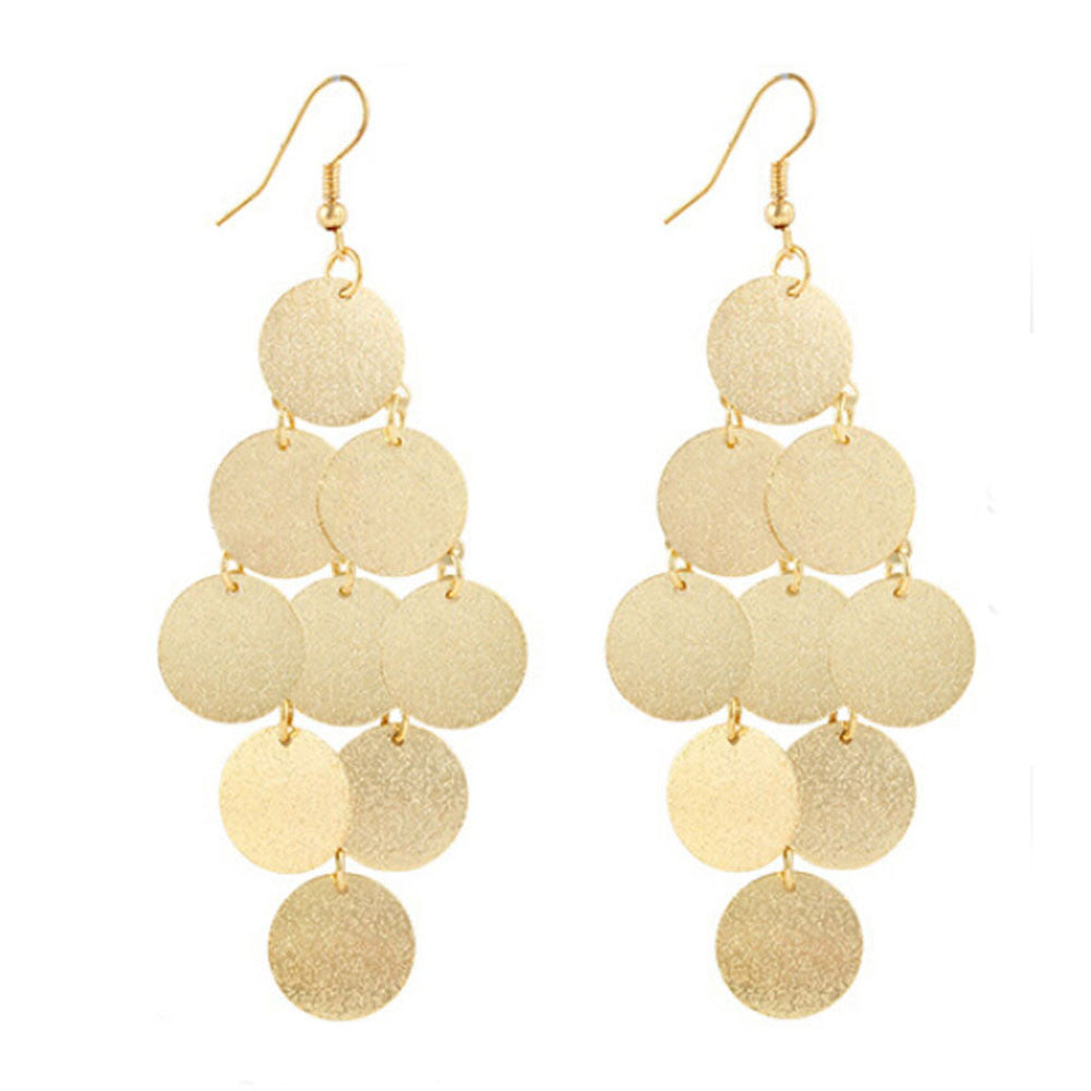 1Pair Boho Style Alloy Circular Dangle Earrings Eardrop Jewelry GD - Gisselle Morales