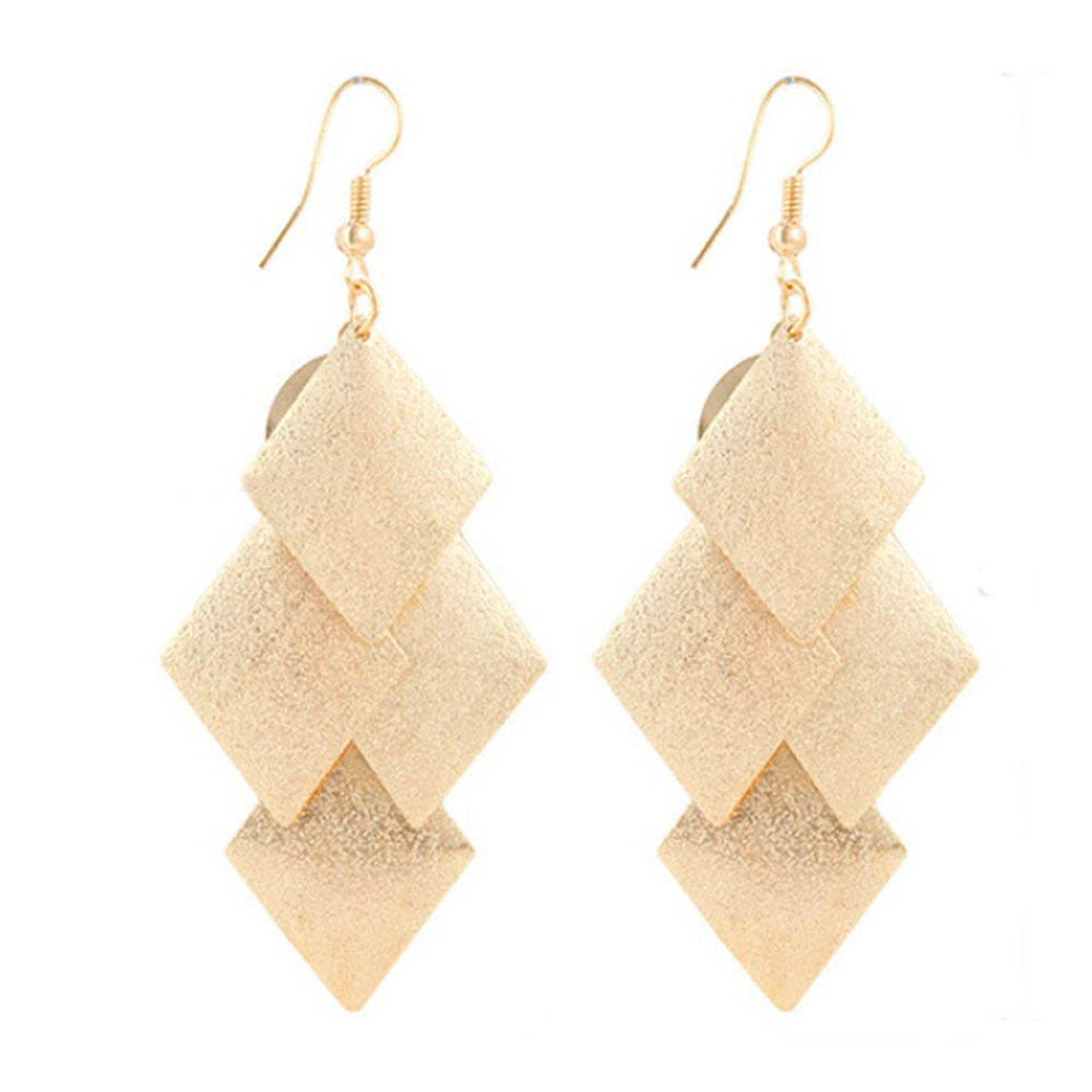 1Pair Boho Style Alloy Rhombus Leaves Dangle Earrings Eardrop Jewelry GD