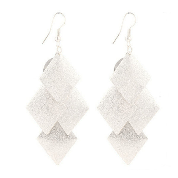 1Pair Boho Style Alloy Rhombus Leaves Dangle Earrings Eardrop Jewelry GD - Gisselle Morales