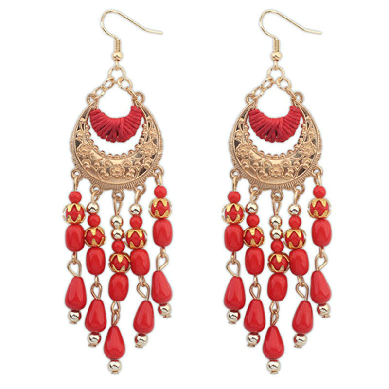 1PC Bohemian Fringed Long Section Of Big Beads Pendant Drop Earrings BK - Gisselle Morales