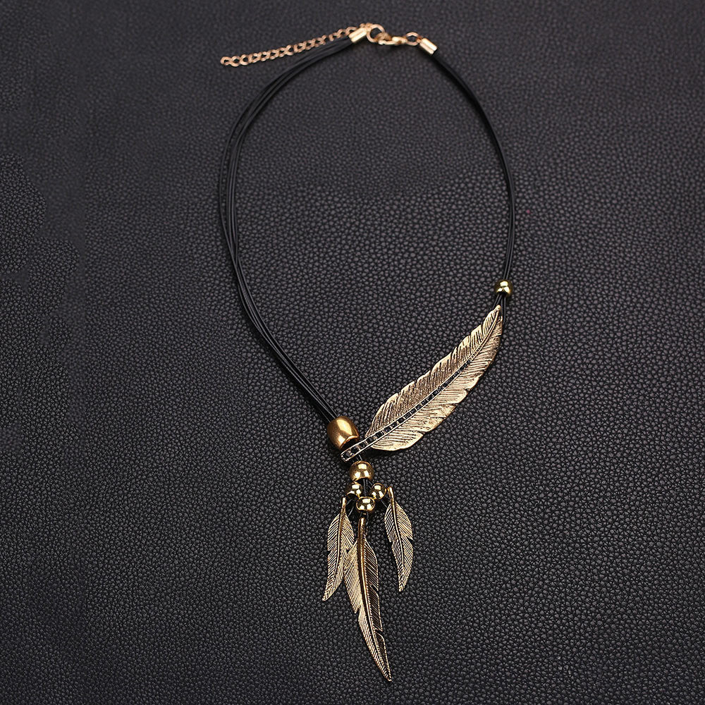 Alloy Feather Antique Vintage Time Necklace Sweater Chain Pendant Jewelry - Gisselle Morales