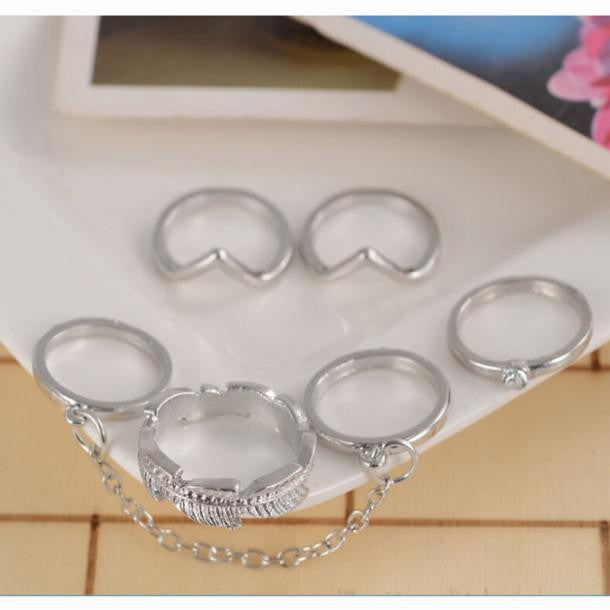 6pcs / Set Gold Urban Rings Crystal Above Knuckle stacking Band Midi Mid Ring - Gisselle Morales