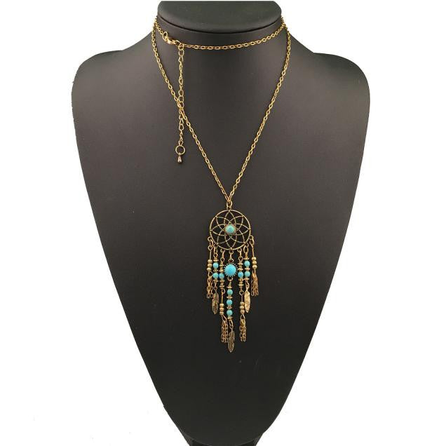 Bohemian Ethnic Merry Su Dreamcatcher Necklace GD - Gisselle Morales