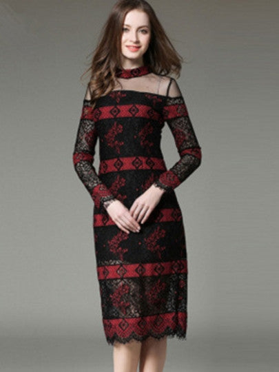 Boho Dress Red Patchwork See-Through Lace Dress