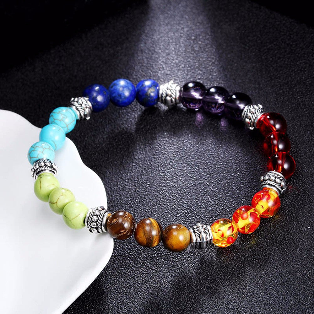 7 Chakra Healing Beaded Bracelet Natural Lava Stone Diffuser Bracelet Jewelry - Gisselle Morales
