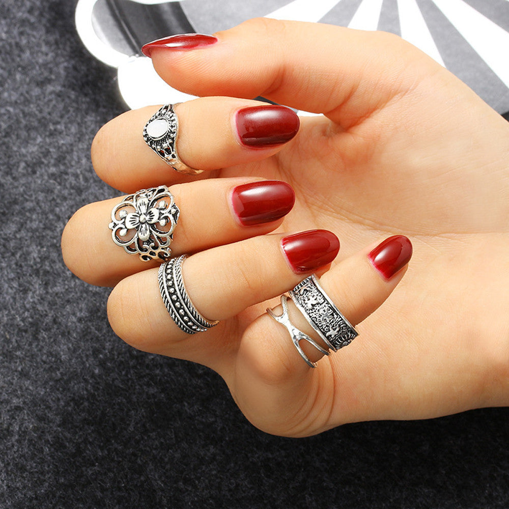 5PCS Vintage Crystal Flower Knuckle Ring Tibetan Turkish Fashion Gift