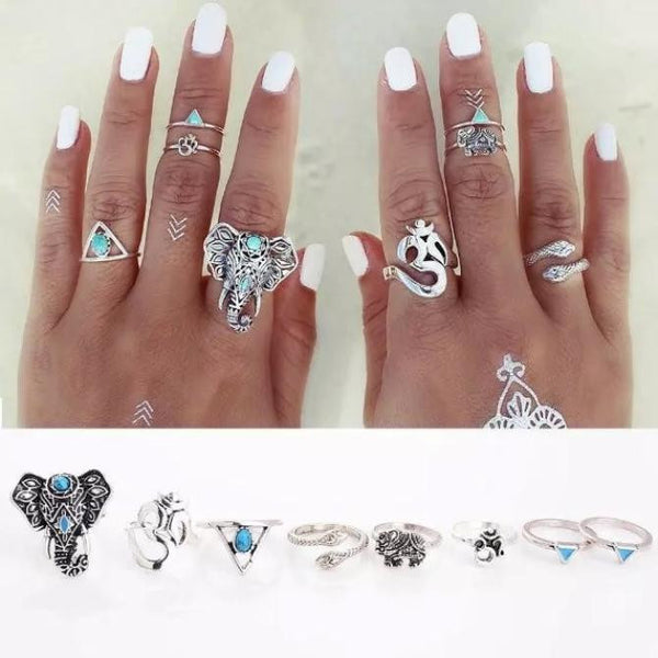 8PCS/Set Bohemian Elephant Midi Ring Set Steampunk Turquoise Knuckle Rings - Gisselle Morales